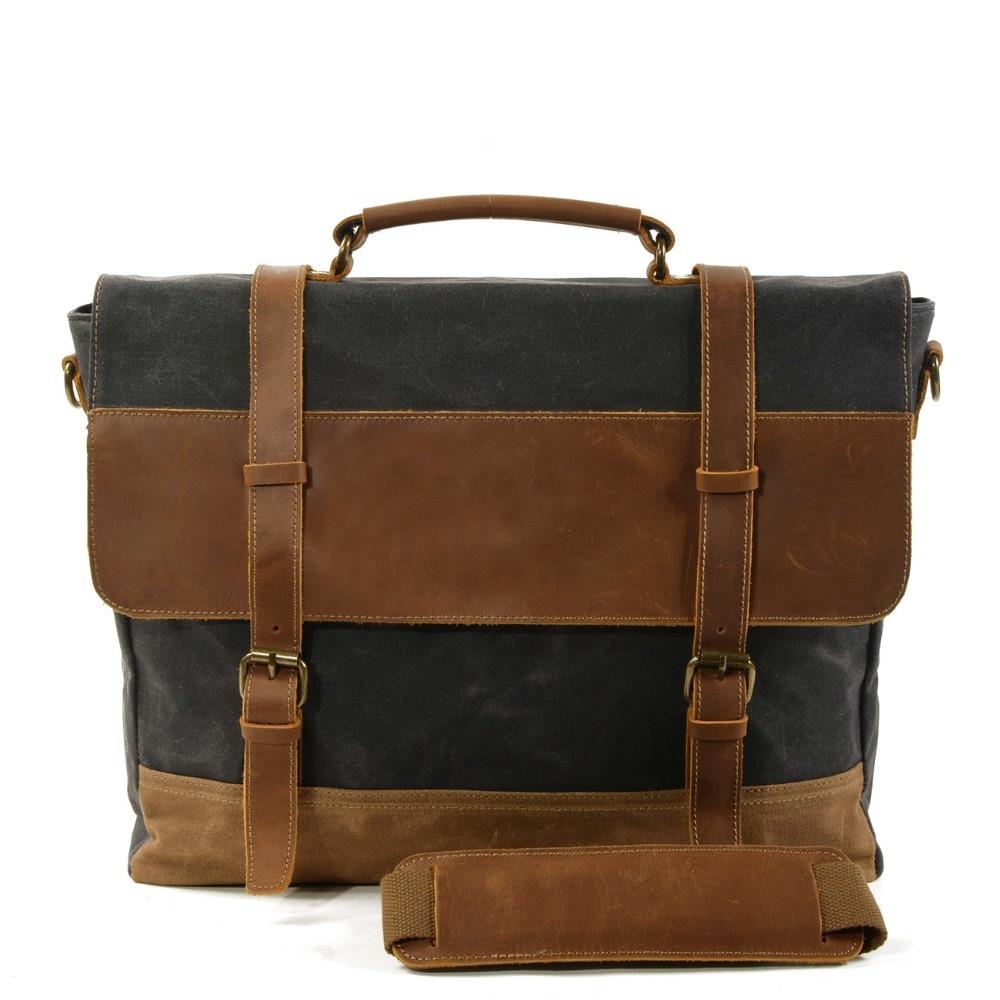 "M274 Oil Wax Canvas Handbag Mens Waterproof Shoulder Bag Vintage Canvas Leather Briefcases 15.6"" Laptop Messenger Bags Large New"