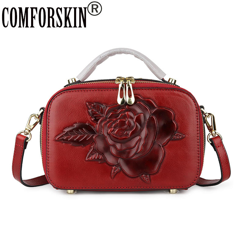 COMFORSKIN Brand Luxury 100% Genuine Leather Women Totes 2019 New Embossing Rose Pattern Large Capacity Cross-body Messenger BagCOMFORSKIN Brand Luxury 100% Genuine Leather Women Totes 2019 New Embossing Rose Pattern Large Capacity Cross-body Messenger Bag