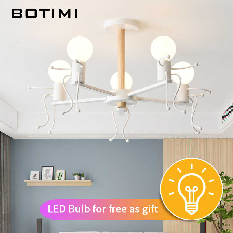 BOTIMI современный светодиодный светильник для гостиной, белые металлические люстры, деревянные подвесные люстры, Светильники для детской спальни