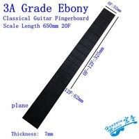 3A All Black Ebony Wood Fretboard For Classical Guitar 20 Frets Standard 650mm Chord Length Semi finished Fingerboard Material
