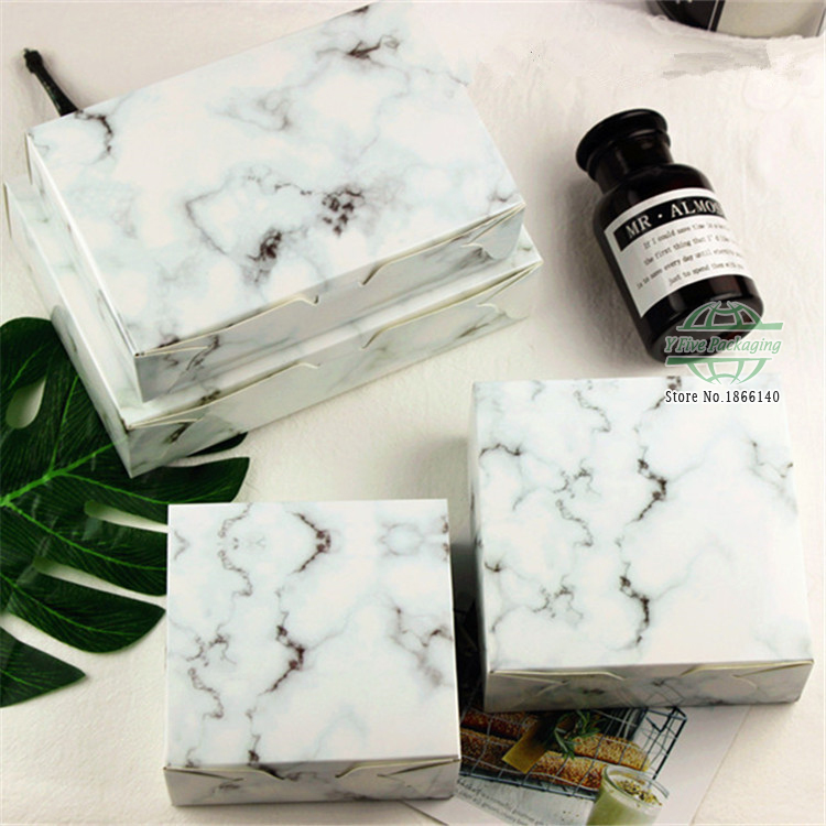 2 Size 50 80g Marble Design Paper Cake Box Chocolate Party Cookies Candy Gift Box 100pcs