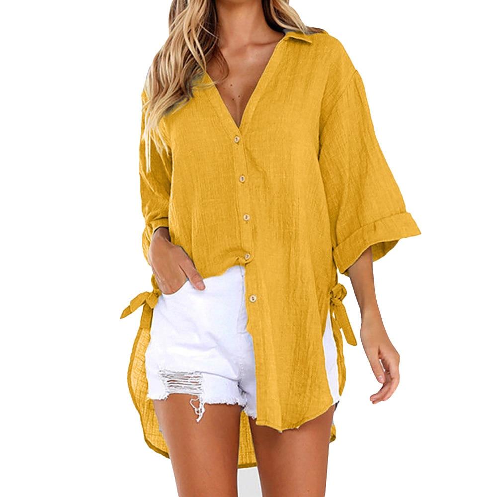 Women Summer Loose Button Long   Shirt   Dress Cotton Ladies Casual   Shirt   Women V-Neck   Shirt   Sexy Holiday Beach Long Sleeve Tops