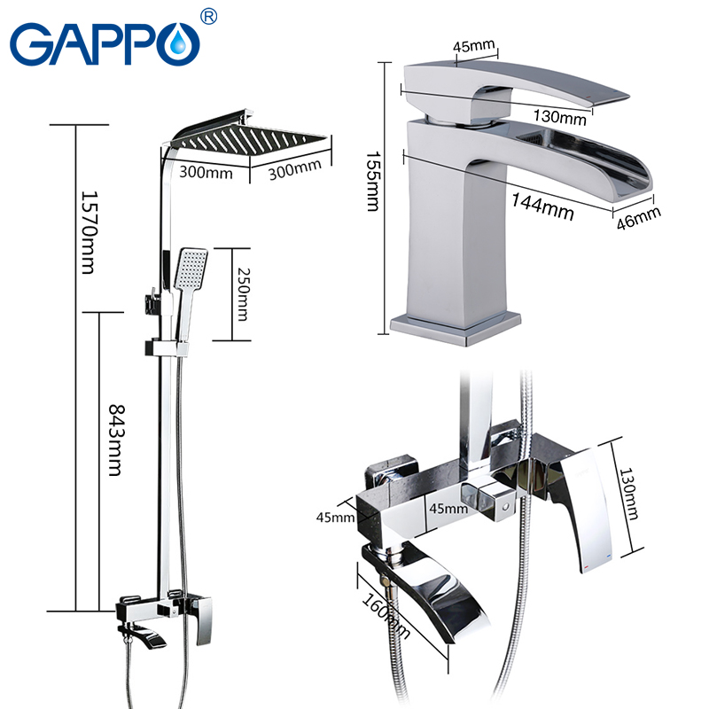 GAPPO Shower Faucets shower set with basin faucet brass bathroom shower set chrome bath faucet mixers torneira do anheiro