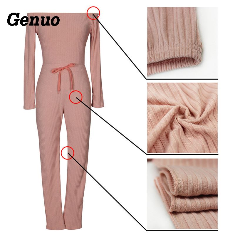 Genuo Women Elegant Winter Jumpsuits Knitted Ribbed Long Sleeve Off Shoulder Casual Rompers Sexy Club Wear Bodycon Jumpsuit in Jumpsuits from Women 39 s Clothing
