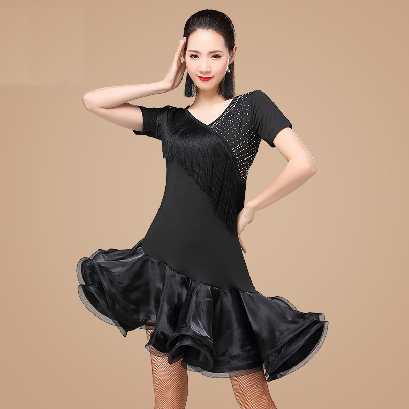 Original Latin Dance Dresses for Ladies Black Blue Red Flamenco Costume Sexy Women Ballroom Professional Samba Tango Dress N1043