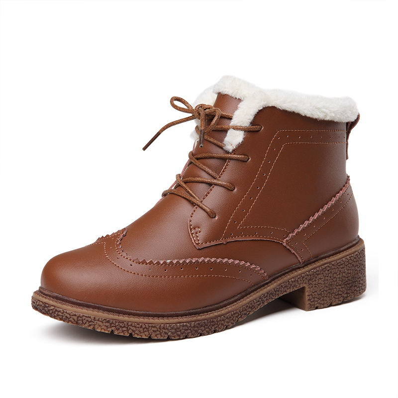 ФОТО Winter Genuine Leather Ankle Boots Women Brogues Snow Boots Keep Warm Plush Martin Boots