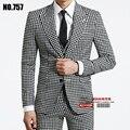 S-XXXL! 2016 primavera outono marca dos homens de negócios de moda casual xadrez fino conjunto terno masculino Plus Size outerwear vestido formal VSTINUS