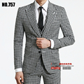 S-XXXL! 2016 spring autumn men's brand fashion business casual plaid slim male suit set Plus size outerwear formal dress VSTINUS