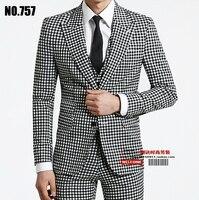 S XXXL 2018 spring autumn men's brand fashion business casual plaid slim male suit set Plus size outerwear formal Men dress