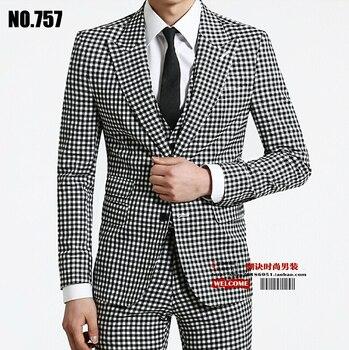 S-xxxl 2020 Spring Autumn Men's Brand Fashion Business Casual Plaid Slim Male Suit Set Plus Size Outerwear Formal Men Dress