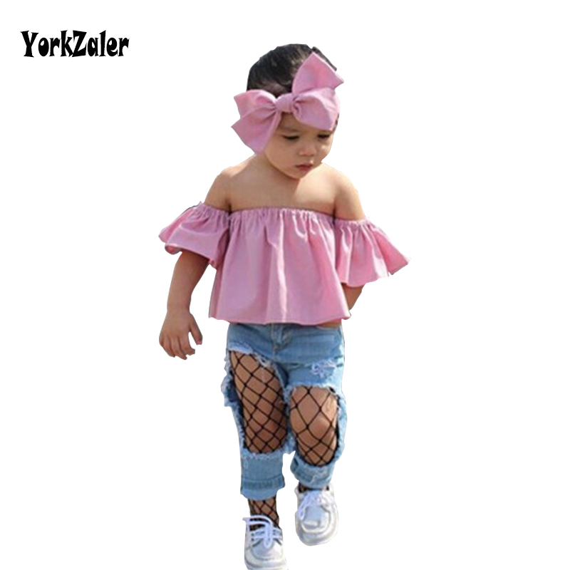 Yorkzaler Children Clothing Sets Summer Autumn Casual Headband+Off Shoulder Tee+Hole Ripped Jeans 3 Pieces Sets Girls Clothes цена 2017