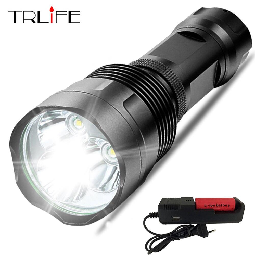 Супер яркий 48000LM фонарик светодио дный t6-16t6 LED Наружное освещение 5 режимов водостойкий Факел Lanterna охота с 26650 и зарядное устройство
