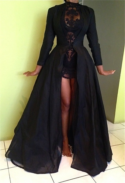 2017 New High Quality Sexy Gothic Lace High Waist Sheer Jacket Long Dress Gown Party Costume Lady Autumn Dress Black 3