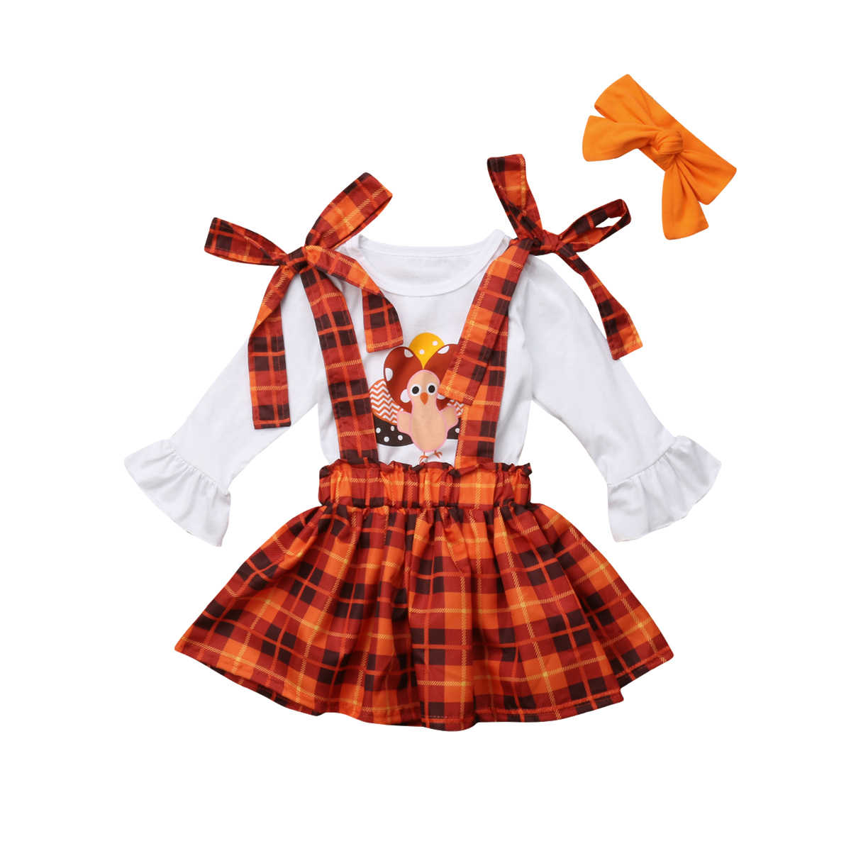 Thanksgiving Days Party Clothes Sets Infant Baby Girls 2PCS Turkey Print Long Sleeve Pullover Tops+Belt Plaid Bibs Dress