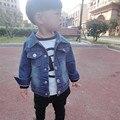 2016 Nova Marca Primavera Outono Crianças Casaco Bebê Girls & Boys Crianças Jaqueta Outwear Jaqueta Jeans calças de Brim Do Bebê Da Criança do Algodão jaqueta
