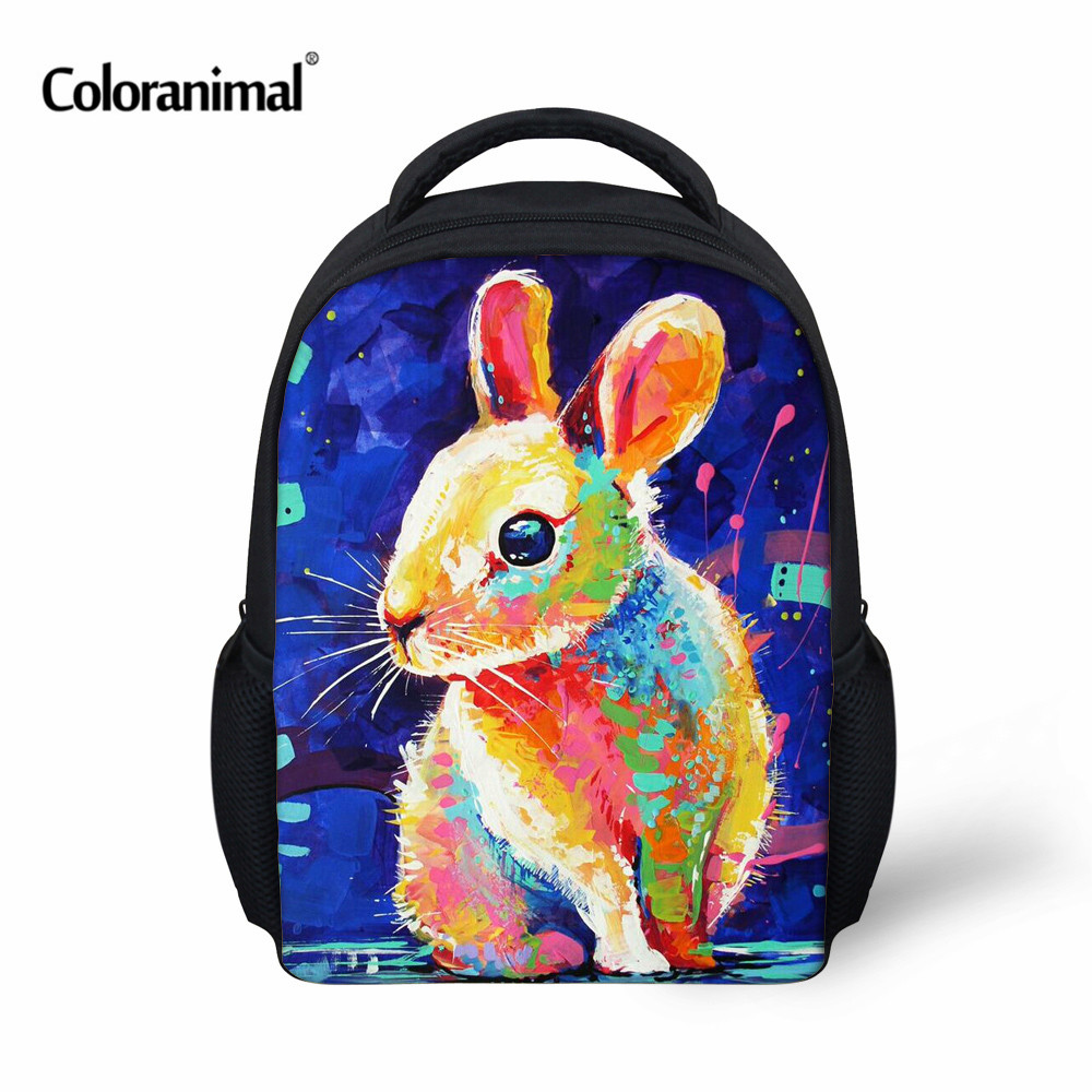 Coloranimal 3D Painting Animal Printing School Little Backpack Rabbit Cat Owl Kindergarten Baby Book Bag Kids Boys Girls Mochila