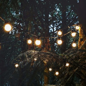 Image 4 - 15M 20 Bulb Connectable Vintage Festoon ball string Lights 75LED Christmas fairy lights for outdoor patio party Garland Lighting