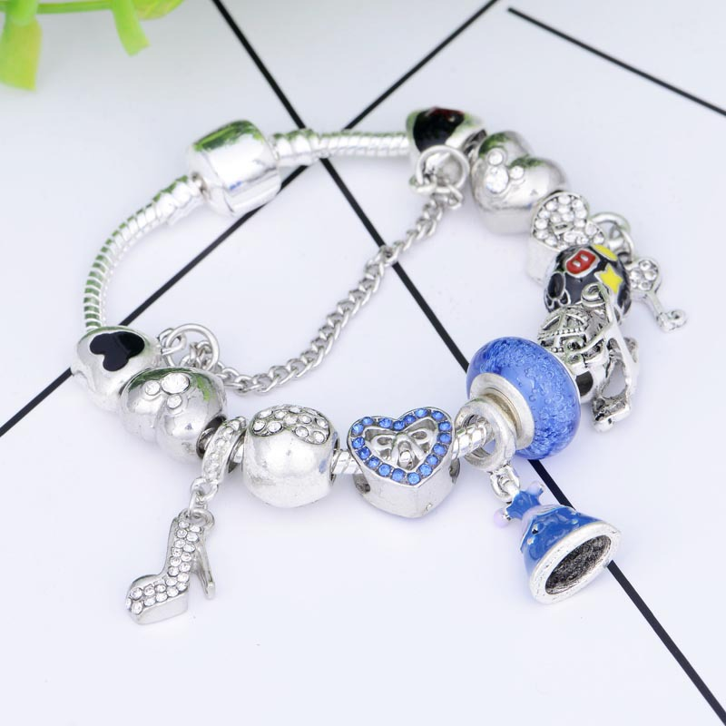SPC YANIV Fashion Jewelry Crystal Heart Beads Bracelet for Women Gold European DIY Charm Bracelets & Bangles gold plated rhinestone heart circle charm bracelet