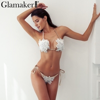 Glamaker Halter bandage sexy bodysuit Women two piece suit crystal lace bodysuit winter jumpsuit Beach backless holiday bodysuit