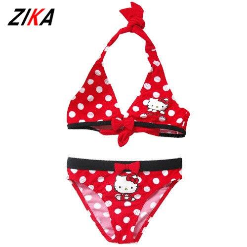 ZIKA 2017 Summer Cartoon Baby Girls Swimwear Cute Hello Kitty Swimsuit Kids Bikini Child Swimsuit c10