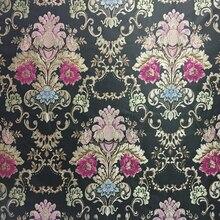 Vintage negro Damasco Jacquard tejido hogar silla tapicería sofá sillón tela decorativa ropa bolsas almohadas tela 280cm de ancho