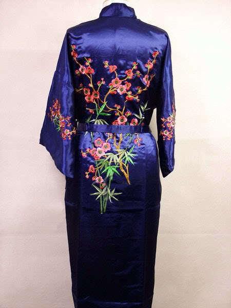 Темно-Синий Китайских женщин Шелковый Атлас Одеяние Вышивка Кимоно Ванна платье Цветок Sml XL XXL XXXL Бесплатная Доставка MR-022