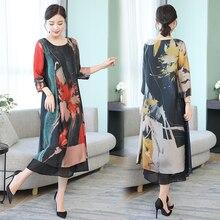 Summer Silk Chiffon Dress for Women Plus Size High Quality 2019 Dresses Woman Party Night Elegant Vintage Midi Robe Clothing цена и фото