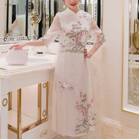 Summer Dress Chinese style Stand collar Silk Organza Dress Spring Fashion Slim Embroidery Split Elegant Improved Cheongsam Dress