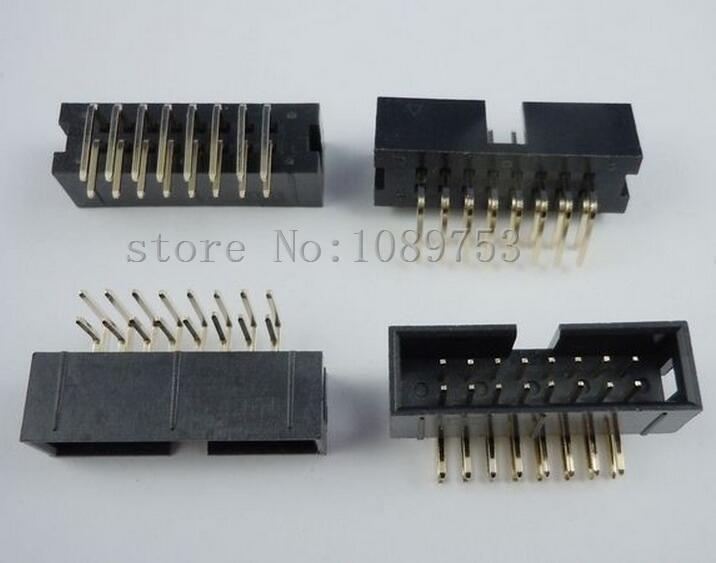 100 pcs 16 Pins 2x8 Box Header Connector IDC Male Sockets Right Angle 2.54mm 50 pcs 14 pins 2x7 box header connector idc male sockets right angle 2 54mm