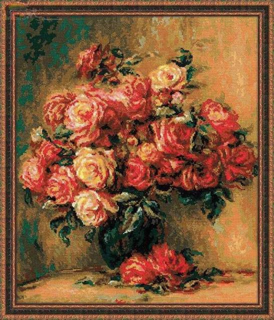 Вышивка рукоделие ремесел 14CT без надписей DMC DIY качество вышивки крестом наборы ручной работы искусств цветочный Декор картина маслом розы ваза
