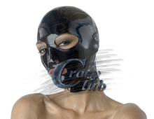 Crazy club_100% pure natural Latex Hood Mask Fetish Latex hood black eyes and mouth and nose holes Free Shipping Fast Delivery