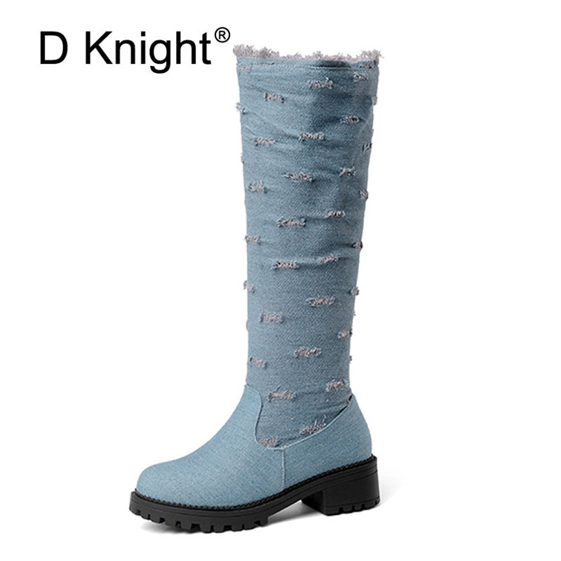 Plus Size 52 Winter Knee-High Boots For Women Fashion Round Toe Med Heels Booties Black Blue Denim Lady Casual Boots Shoes Woman black round toe side zippers heavy bottomed increased inner 12 cm slope heels naked boots discount women fashion wedges booties