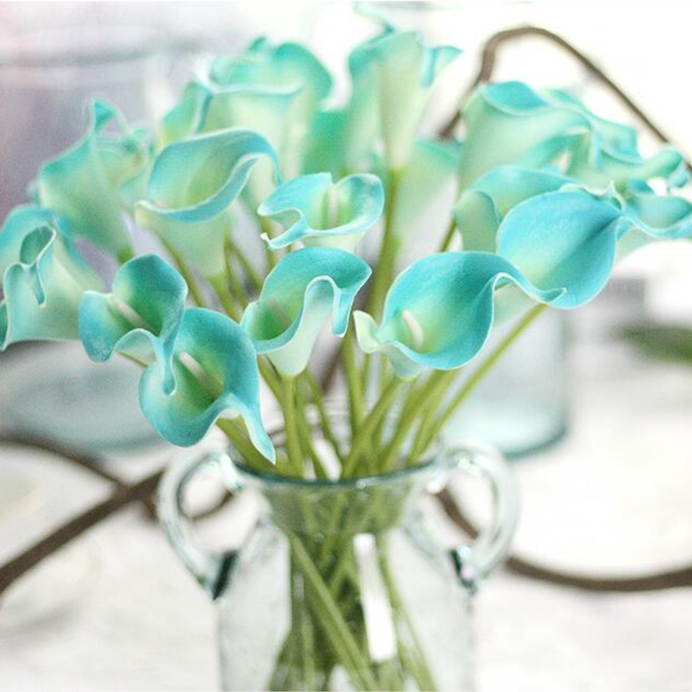 12pcslot artificial pu pretty flower bouquet sapphire blue calla 12pcslot artificial pu pretty flower bouquet sapphire blue calla lily flowers for wedding party home decoration free shipping in artificial dried flowers izmirmasajfo
