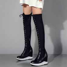 Купить с кэшбэком NAYIDUYUN  Thigh High Boots Women Leather Lace Up Knee High Booties Wedges High Heel Tall Shaft Punk Sneakers Motorcyle Boots