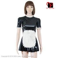 Sexy Swing apron Waitress set Gummi Skater baby doll flares suit black white XXXL Latex Maid uniform Rubber dress plus size