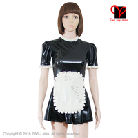 Sexy Swing apron Waitress set Gummi Skater baby doll flares suit black white XXXL Latex Maid uniform Rubber dress QZ 015