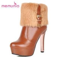 MEMUNIA Knight Boots For Women Ladies Big Size 34 43 Fashion Warm Snow Shoes Platform Pu