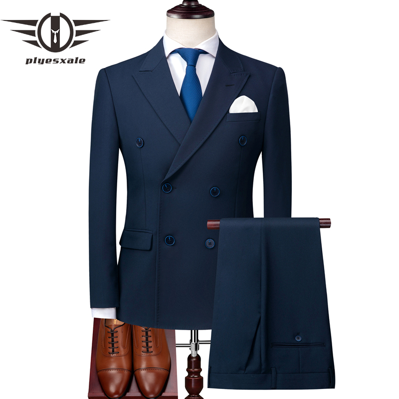 Plyesxale Navy Blue Suit Men 2018 Slim Fit Italian Double Breasted Suits Mens Wedding Suits Tuxedo Formal Business Wear Q177-in Suits from Men's Clothing    1