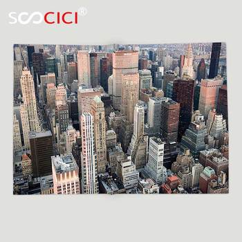 Custom Soft Fleece Throw Blanket Urban USA New York Cityscape at Sunset Skyscrapers Panoramic Metropolis Architectural Photo