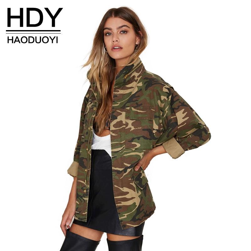 HDY Haoduoyi 2018 फैशन महिलाओं ढीली छलावरण सड़क पर खड़े कॉलर कॉलर लंबी आस्तीन जिपर अंडरवियर जैकेट