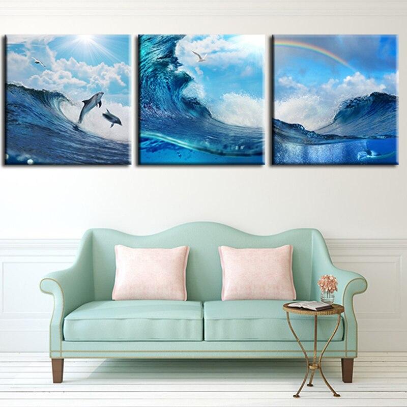pared de la lona imagen de arte para la sala de arco iris olas del