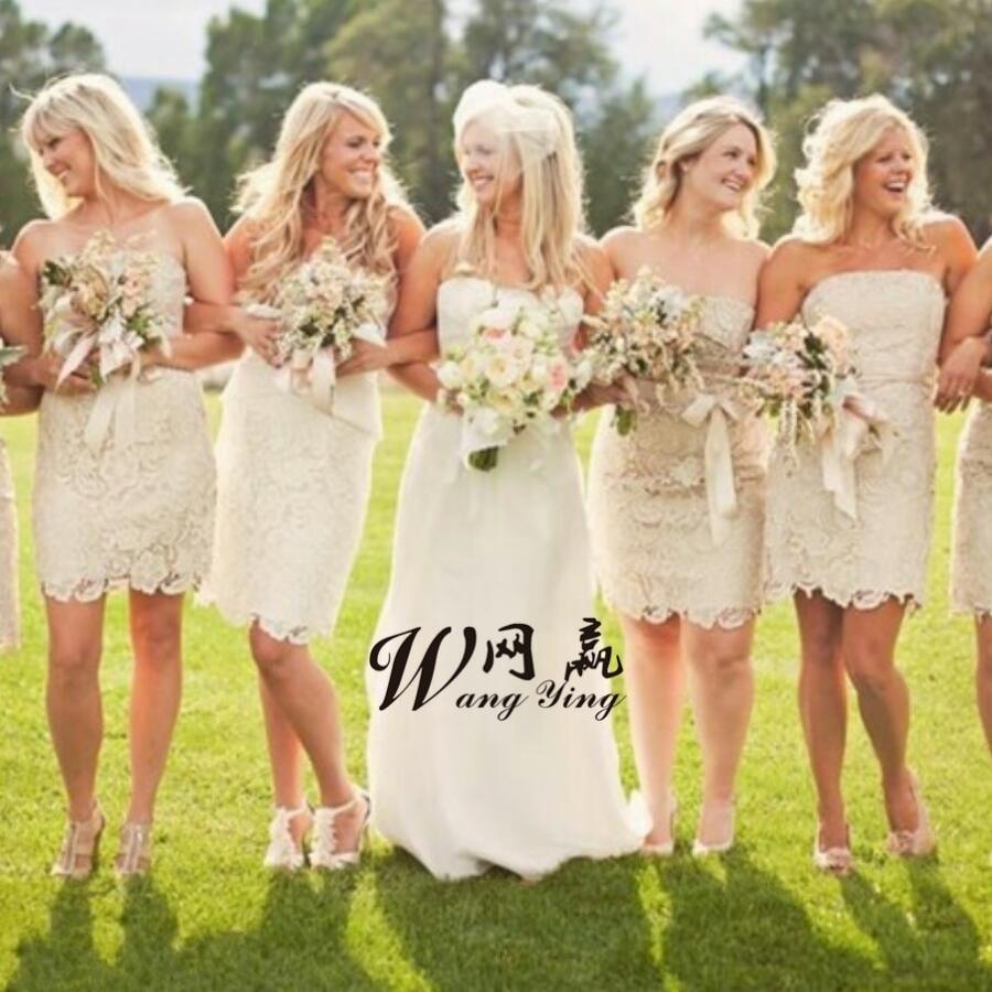 Sexy Sheath Strapless Lace Short font b Bridesmaid b font font b Dress b font Sleeveless
