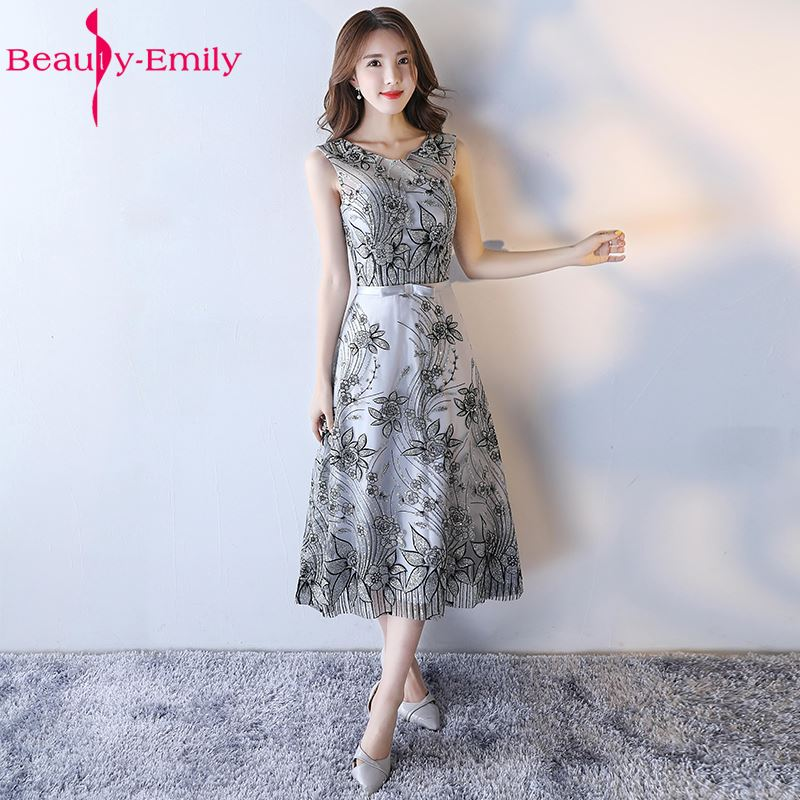 Beauty-Emily Black Sequined Wedding Party   Bridesmaid     Dresses   2017 Women A-Line Beading Lace Stain Formal Occasion   Dresses