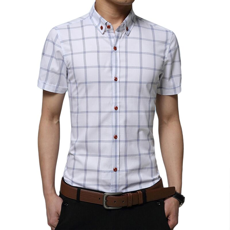 2017 summer brand short short sleeve men plaid shirt for Mens casual plaid shirts