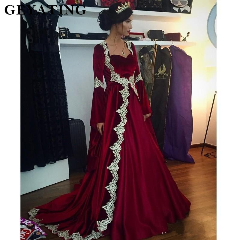 Burgundy Long Sleeve Muslim   Evening     Dress   With Gold Lace Appliques 2019 Sweetheart Court Train Party Gowns Dubai Long Kaftan