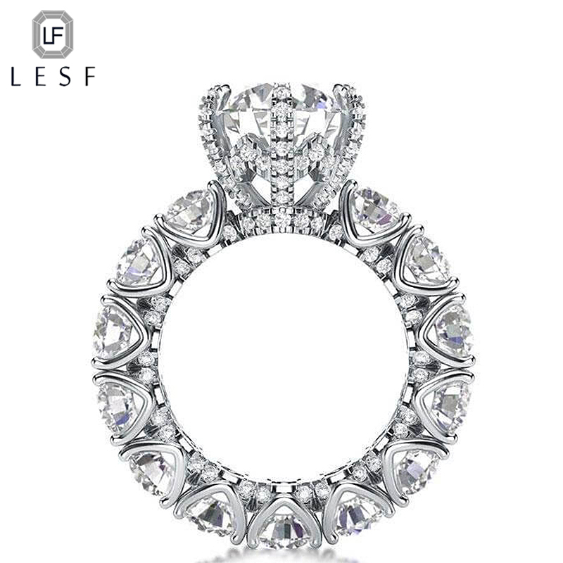 LESF Luxury Jewelry Ring Women's 4 Carat Round Cut Premium Zircon 925 Sterling Silver Fashion Engagement Ring Welcome Custom