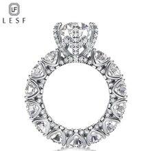 LESF Роскошные ювелирные изделия кольцо женские 4 карат круглой огранки Премиум Циркон 925 пробы серебро Мода Обручальное кольцо Добро пожаловать на заказ