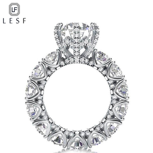 Image 2 - LESF Luxury Jewelry Womens 4 Carat Round Cut Premium SONA Stone 925 Sterling Silver Fashion Engagement Rings