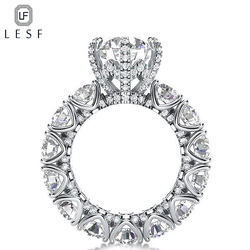 LESF Luxus Schmuck Ring frauen 4 Carat Runde Cut Premium Zirkon 925 Sterling Silber Mode Engagement Ring Willkommen Kunden