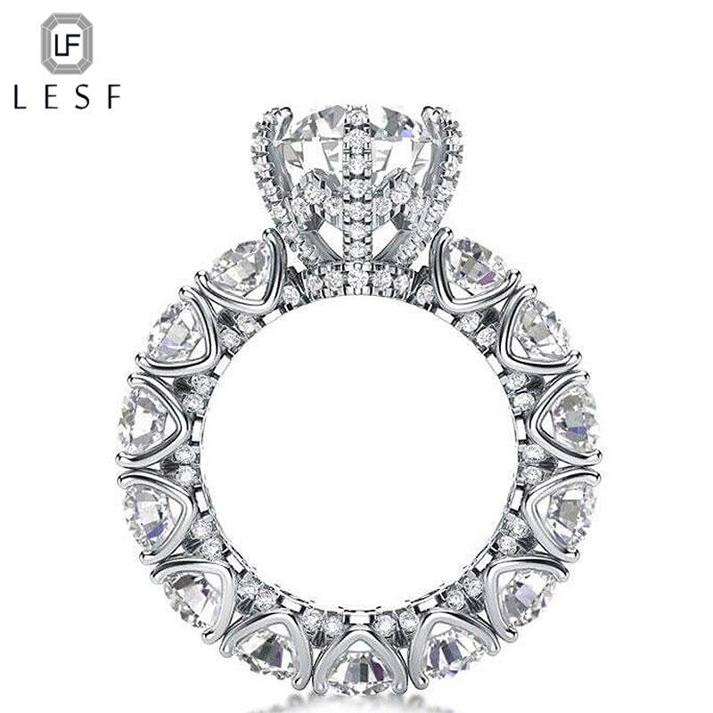 LESF bijoux de luxe bague femmes 4 carats taille ronde Premium Zircon 925 argent Sterling mode bague de fiançailles bienvenue personnalisé